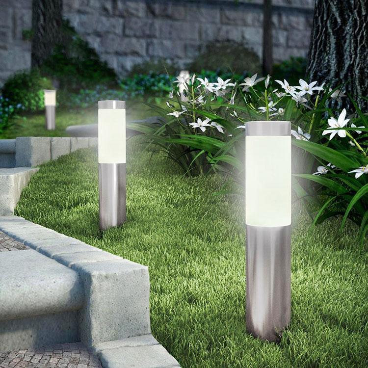 Solar stainless steel lawn bollard light