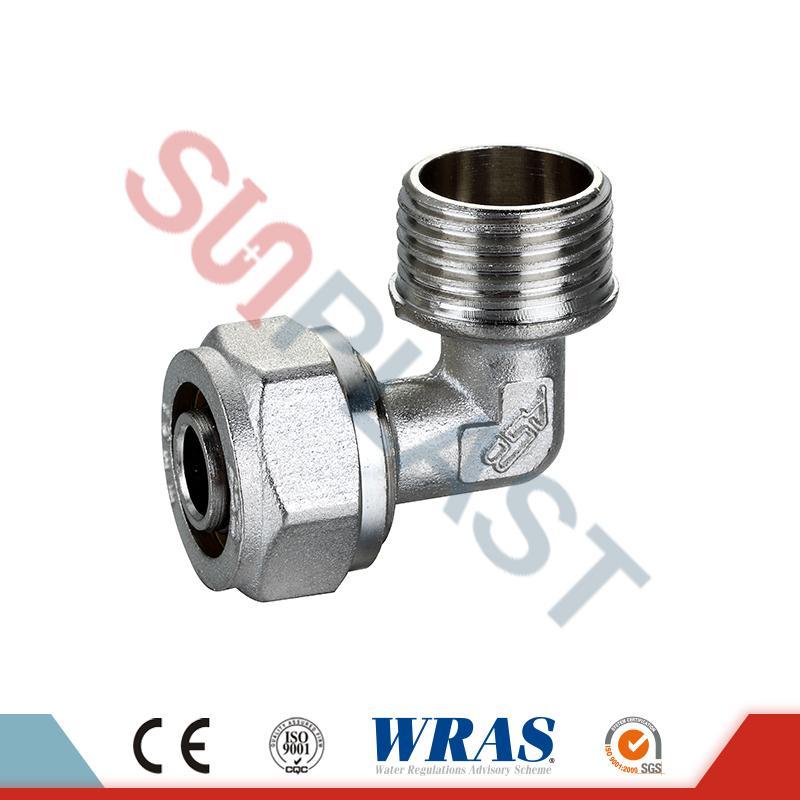 Coude mâle de compression en laiton pour tuyau multicouche PEX-AL-PEX