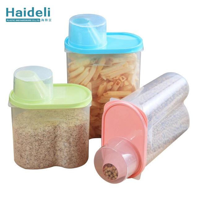 Keittiön elintarvikkeiden muovinen säilytyslaatikko