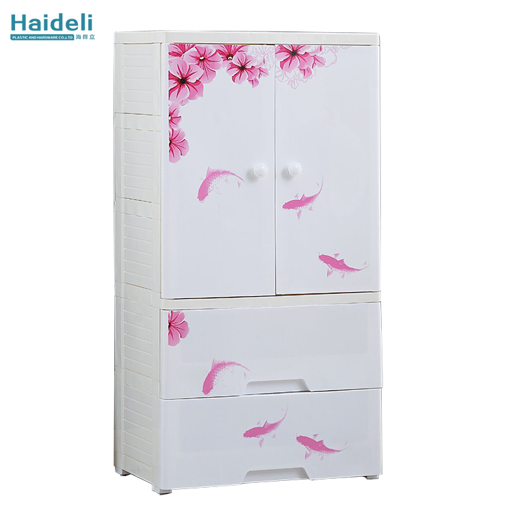 New bedroom plastic double door floral pattern cabinet