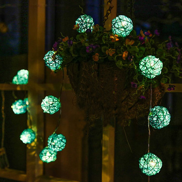 Rattan Ball Solar String Light
