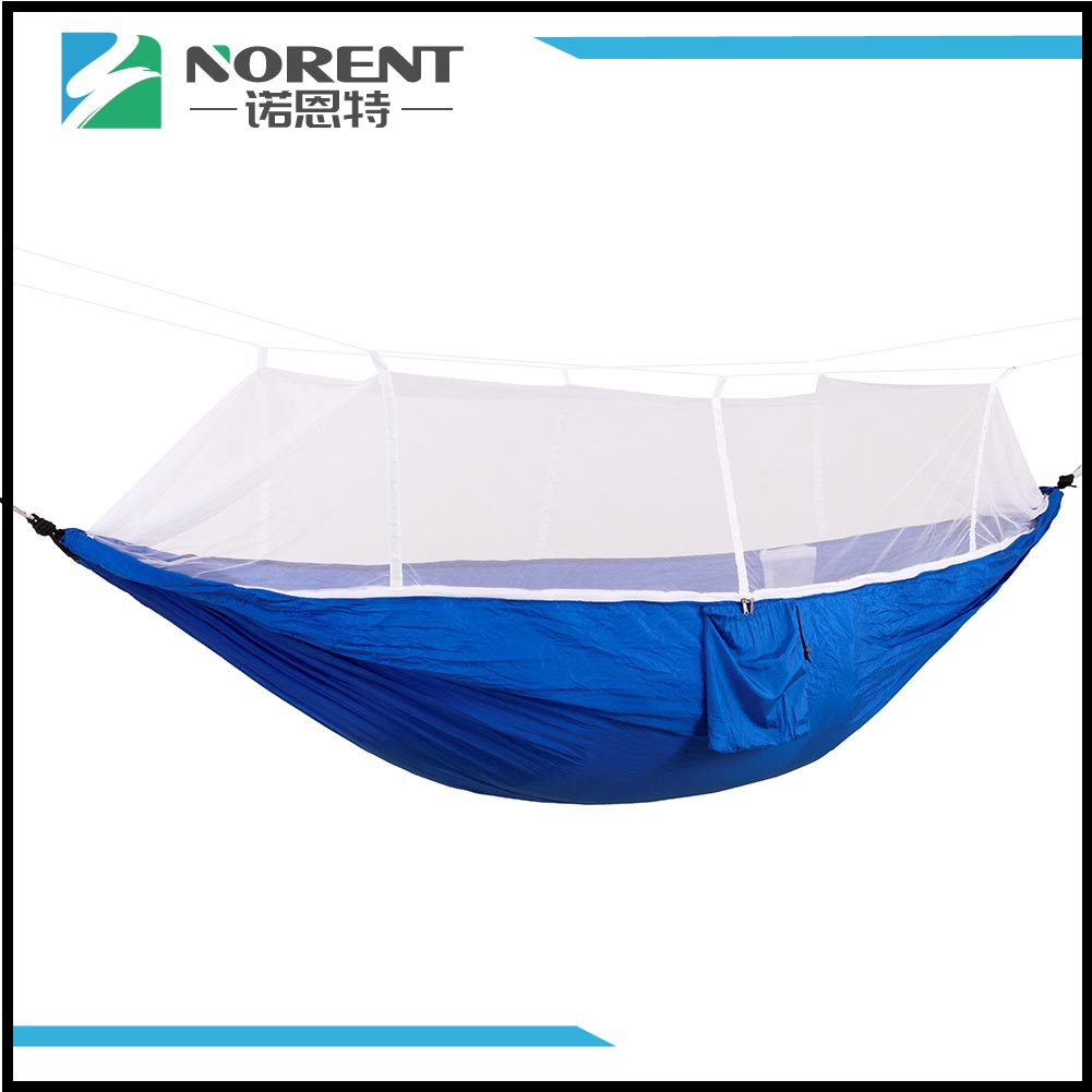 Portable Compact Travel Camping Hammock Blue White Net