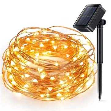 solar power copper wire string light