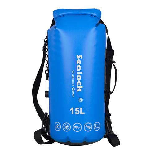 Sealock promotional OEM 15L PVC custom logo recycle waterproof outdoor travel motorcycle phone keys floating wet dry bag