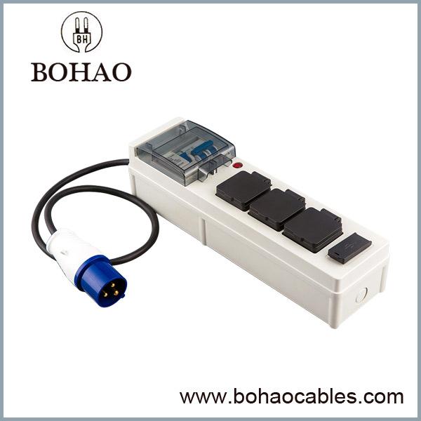 3 Toma de corriente Múltiple Enchufe 2 USB Puertos Extensión Cable
