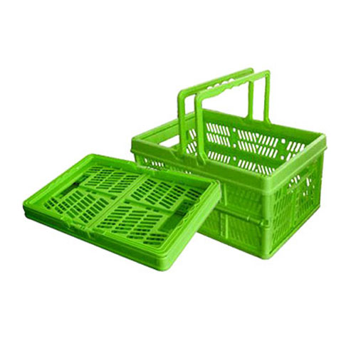 plastic Folding shopping basket with handles