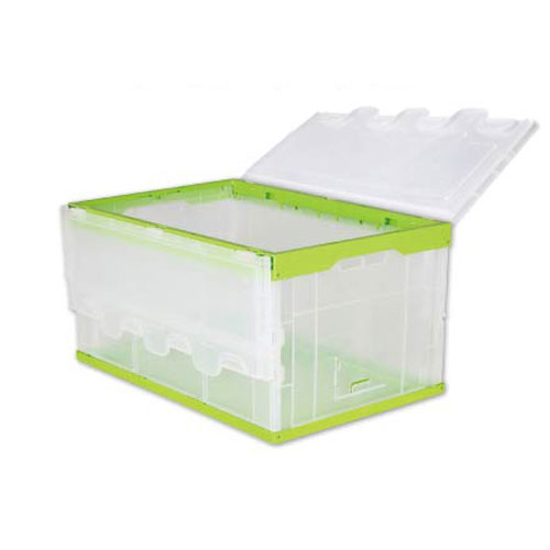 Industrial storage logistic nesting stackable heavy duty folding plastic attached lid container