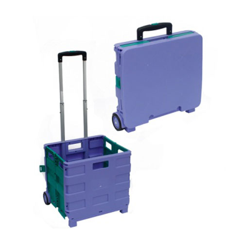Plastik Paglikob Shopping Trolley Labahan Pagbiyahe Portable Cart uban Wheel