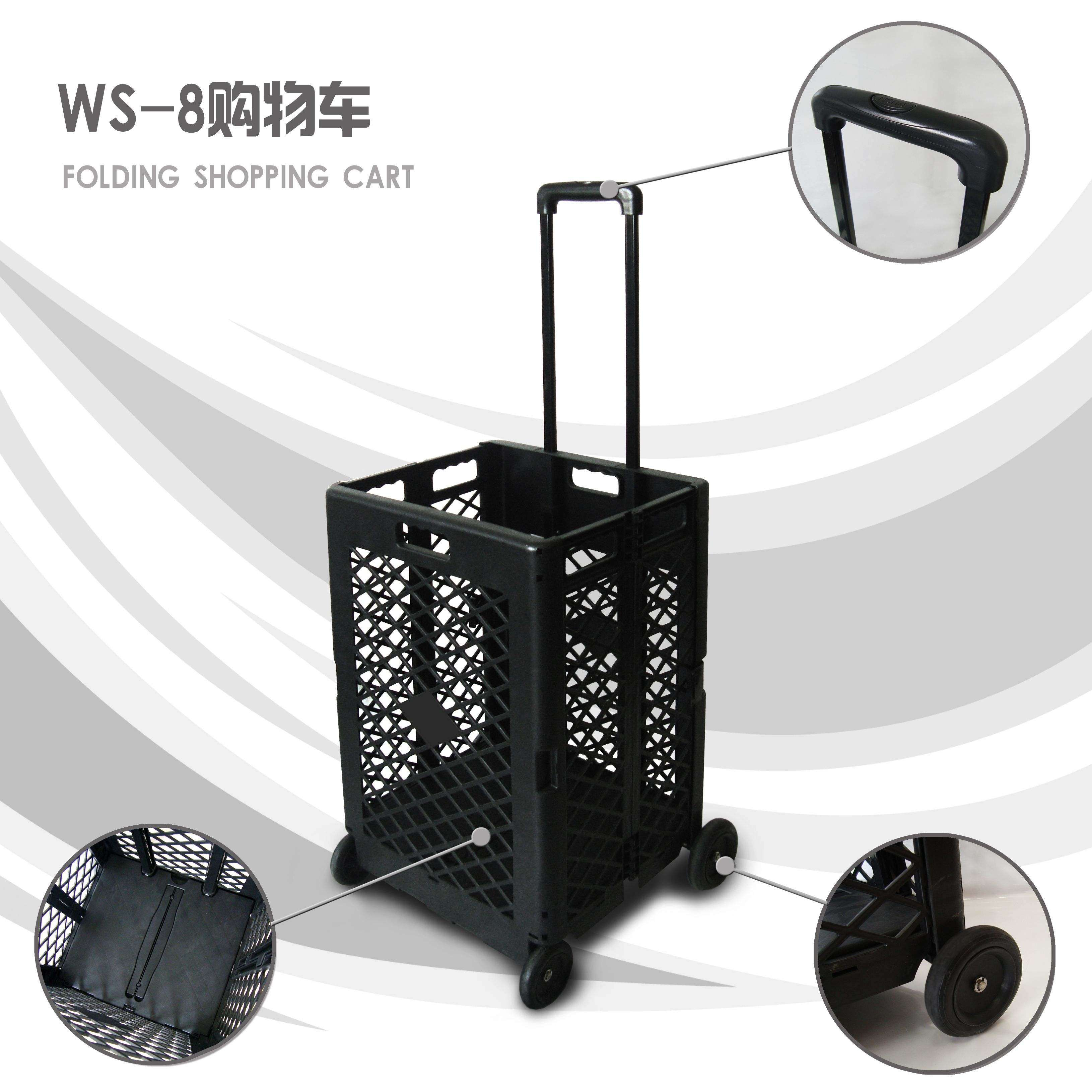 Vegetables and fruits hand folding shopping rolling cart trolley