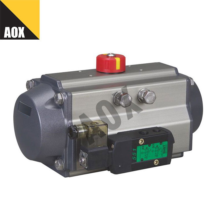 Rack and pinion double acting pneumatic actuator