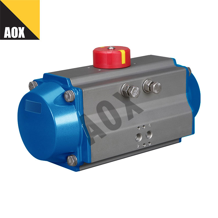 Small spring return pneumatic rotary actuator