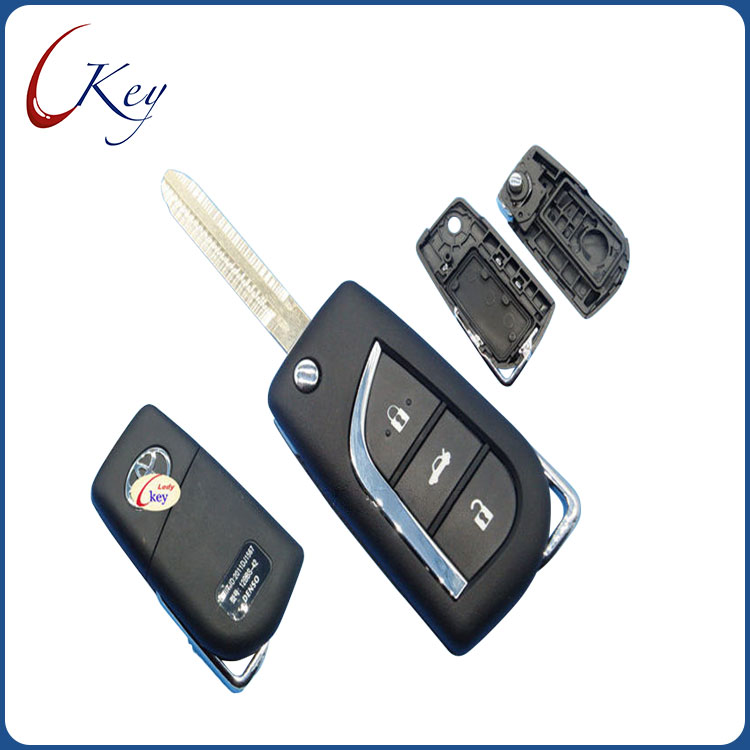 3 Buttons Replacement Remote Car Key Shell Fob Case For Toyota Levin Camry Reiz Highlander Corolla With Logo