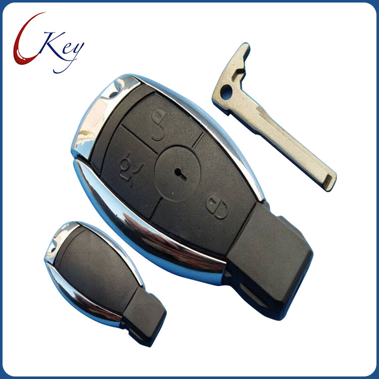M.benz 3 Button Remote Key Shell With Blade With Logo(european Style)