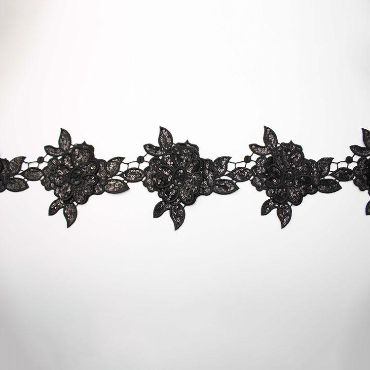 Black Sequin 3D Flower Lace