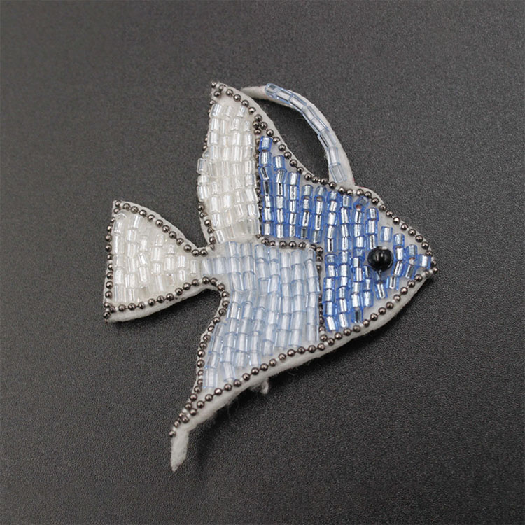 Blue Beaded Fish Patches