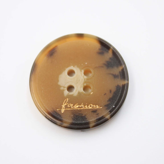 Brown With Logo Resin Button