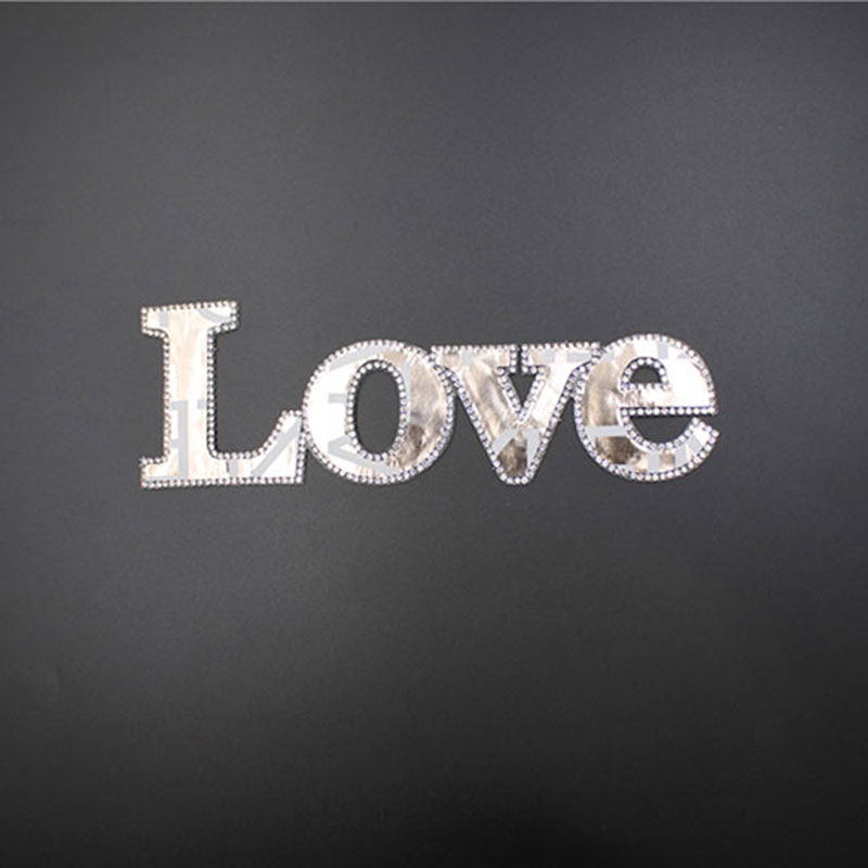 Customized Rhinestone Letter Appliques Silver Iron-on Patches