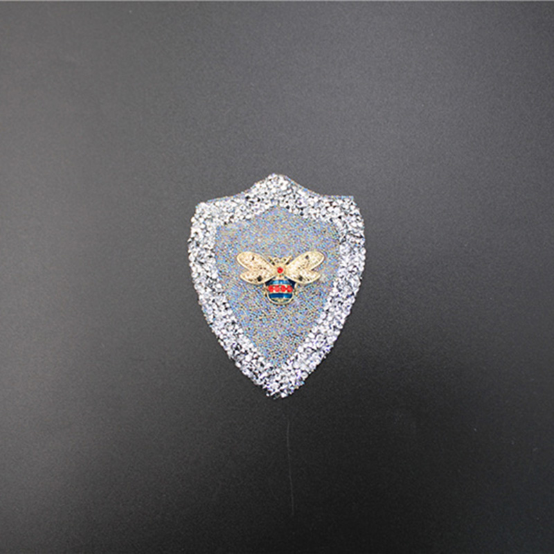 Customized Silver Rhinestone Golden Red Bee Animal Pattern Patches