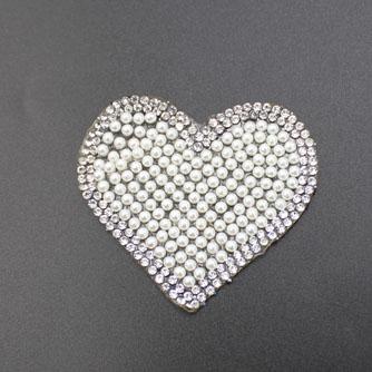 Elegant Heart Iron On Beaded Patches