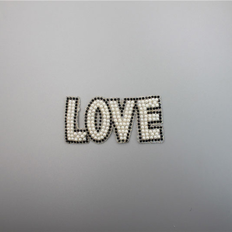 Fashion Letter Appliques Pearl And Black Rhinestone Patches