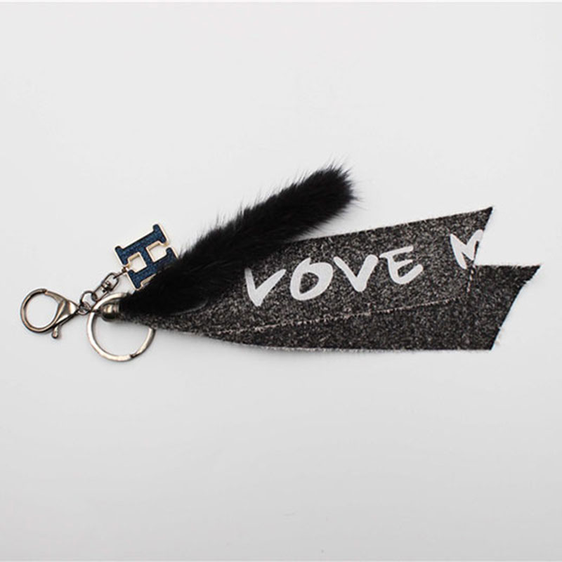 Fashion Metal and Braided Fabric Letter Cony Hair Key Chain