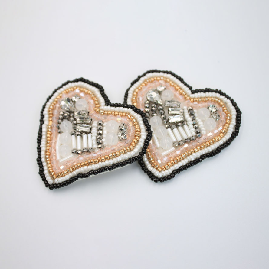 Heart Sew On Beaded Patches
