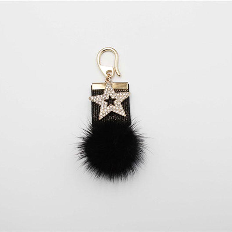Hot Sale Metal Star Shape and Black Fur Ball Key Chain