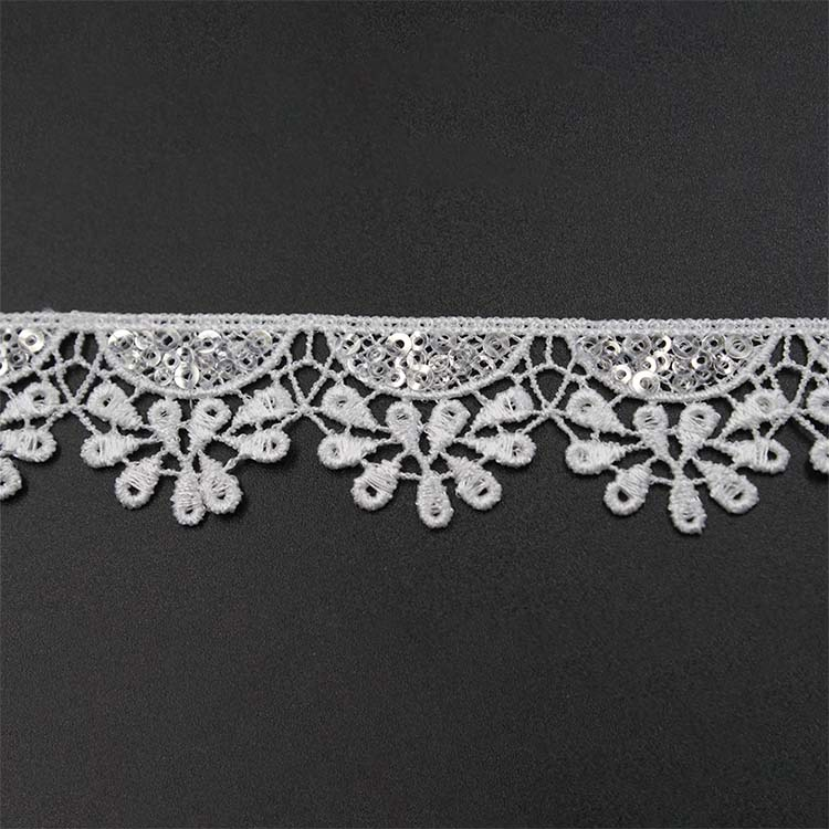 Lace Trim Border Flower Polyester Embroidery
