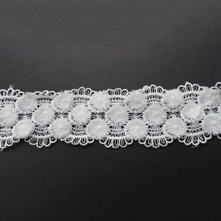 New Style White Eco-Friendly Water Soluble Embroidery Cotton Lace Trim
