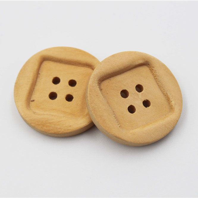 Natural Round Wood Button
