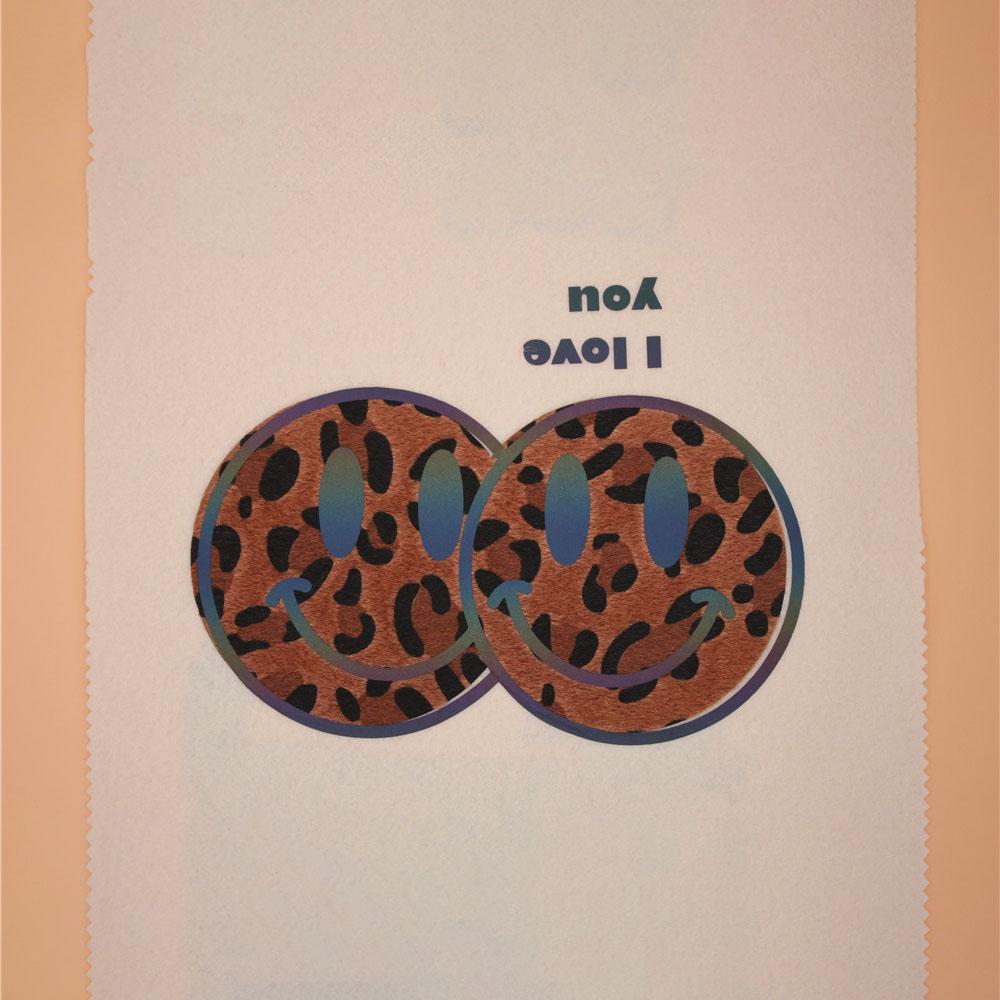 New Leopard Print Smiling Face Heat Transfer Sticker