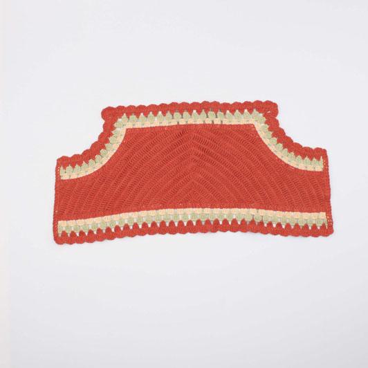 Orange Knit Embroidery Collar