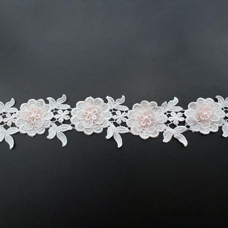 Pink 3D Flower Lace