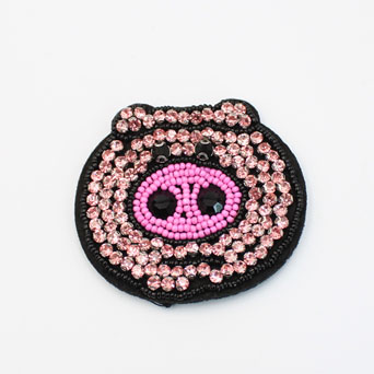 Pink Beaded Pig Sew On Patches