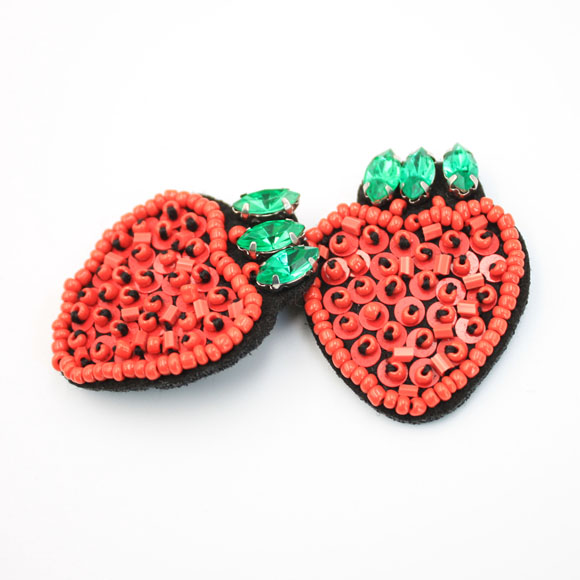 Red Beaded Strawberry Patches