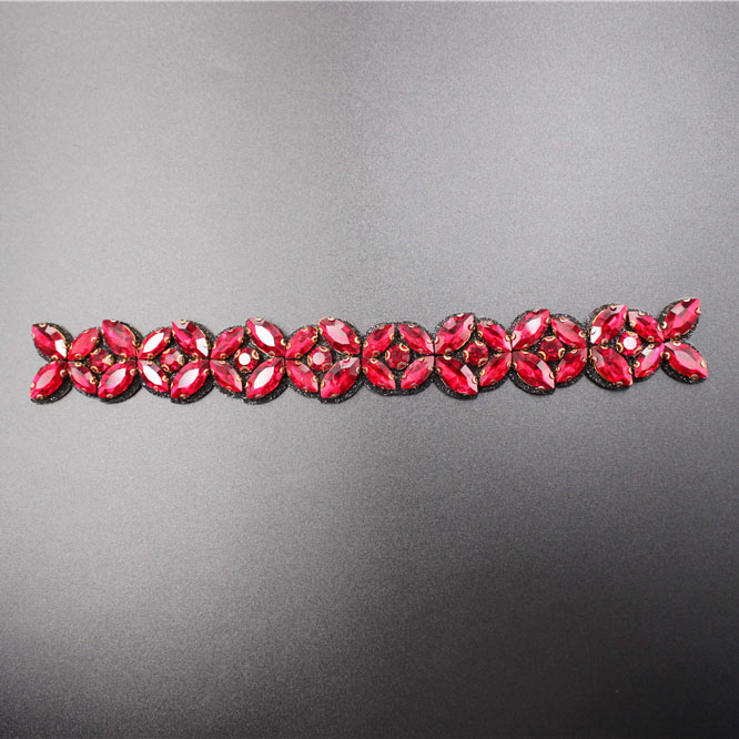 Red Flower Rhinestone Chain Trimming
