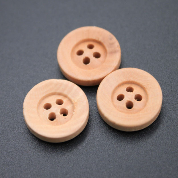 Small Round Wood Button