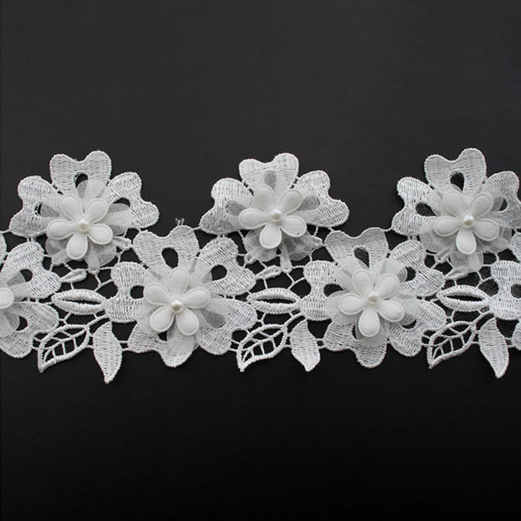 White 3D Flower Lace With Pearl 2020
