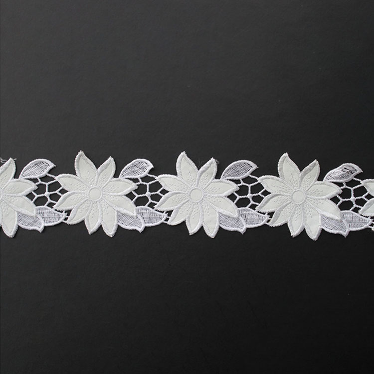 White PU Embroidery Lace Trim