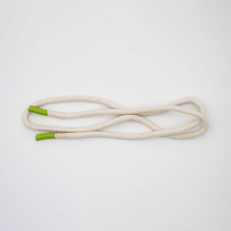 White Round Cotton Hoodie Cord With Green Silicone Tip