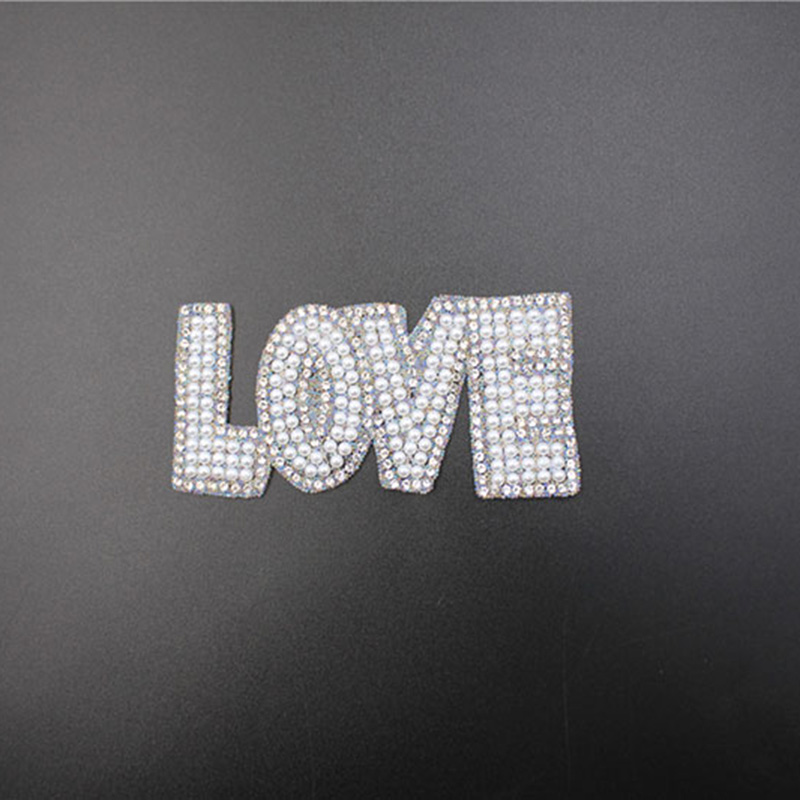 Wholesale Letter Beaded Rhinestone Iron-on Patches