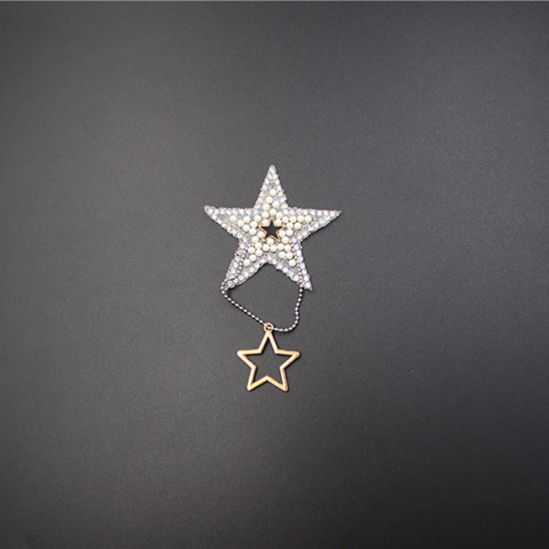 Wholesale Rhinestone Star Shape Patches Pearl Crystals Appliques