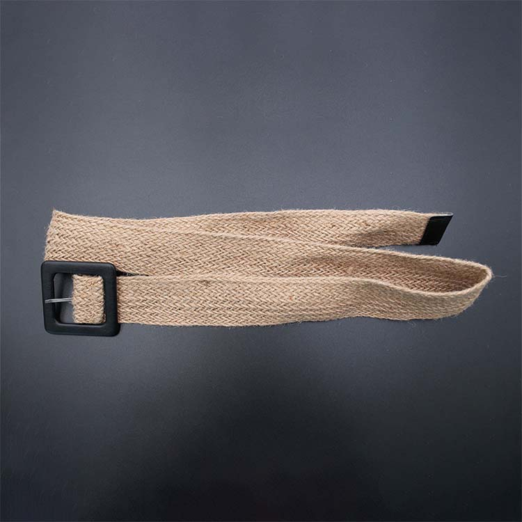 Woven Belt with Big Black Buckle