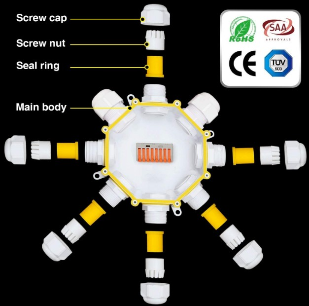 M686-O items Outdoor Cable Connector Electrical 7 Way Junction Box IP68 Waterproof White External Electric with Quick Terminal Block