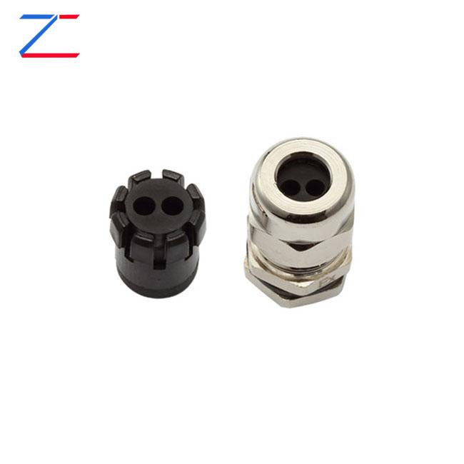Multi-hole Metal cable gland (2 holes)