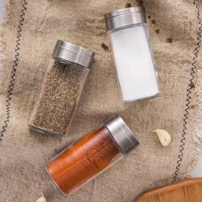 180ml Rotating Glass Seasoning Transparent Spice Shaker Salt Powder Jar