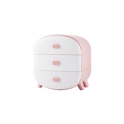 Drawer Plastic Student Dormitory Three-in-one Compartment Underwear Panties Socks Storage Cabinet Storage Box