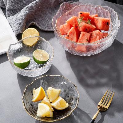 Japanese Style Glass Gradient Transparent Salad Bowl Tableware Fruit Plate