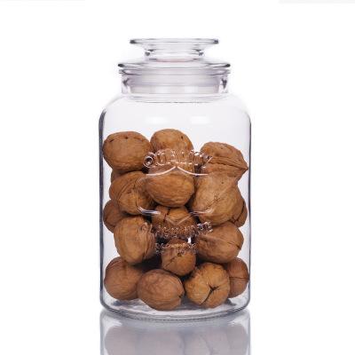 New 1.8 L Large-capacity Storage Transparent Grain Jar Glass Kitchen Food Sealed Storage Bottle