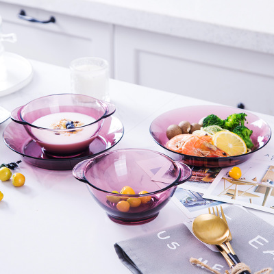 Nordic Heat-resistant Transparent Purple Tempered Glass Plate Dessert Bowl